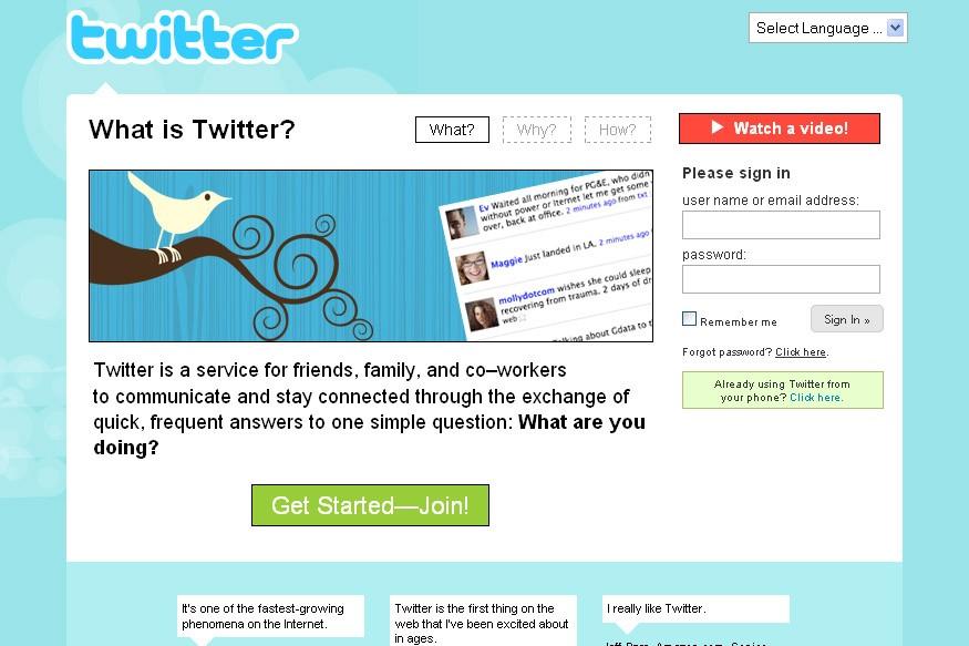 Le site web Twitter...