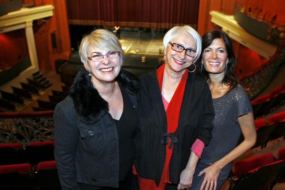 Marie-Hélène Falcon (au centre) a dévoilé une partie... (Photo: Robert Mailloux, La Presse)