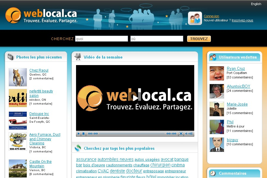Le site weblocal.ca...