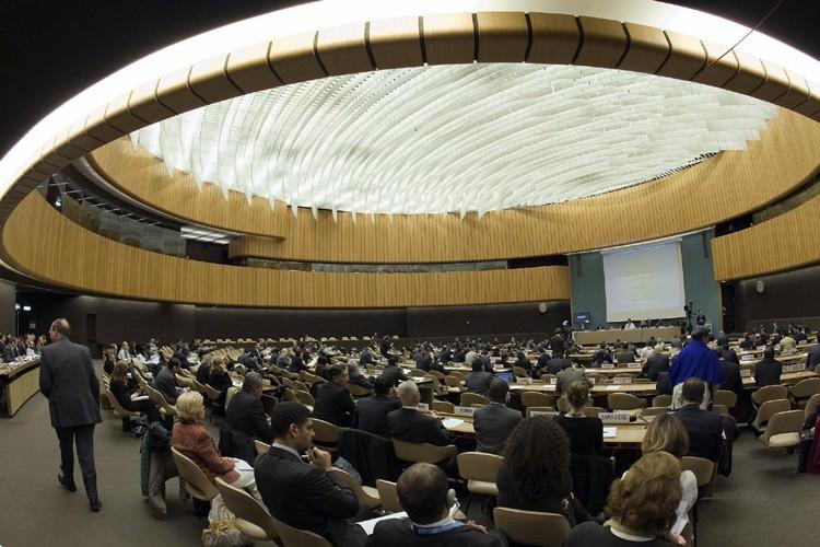Vue générale du hall qui tientle Conseil des... (Photo: AP)