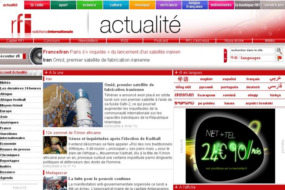 Le site web de RFI...
