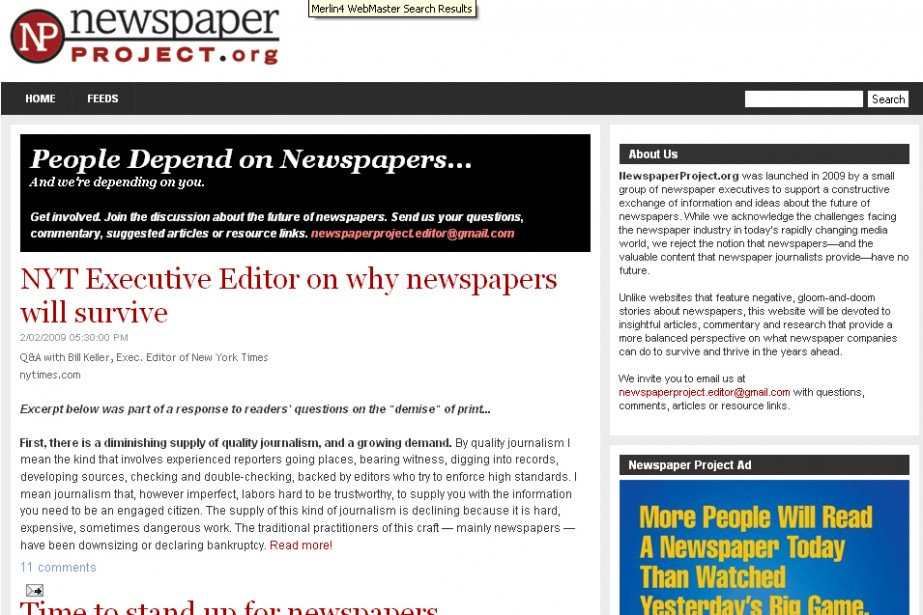 Le site NewspaperProject.org...