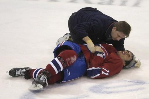 Quand un joueur du Candien se blesse, c'est... (Photo: Bernard Brault, archives La Presse)