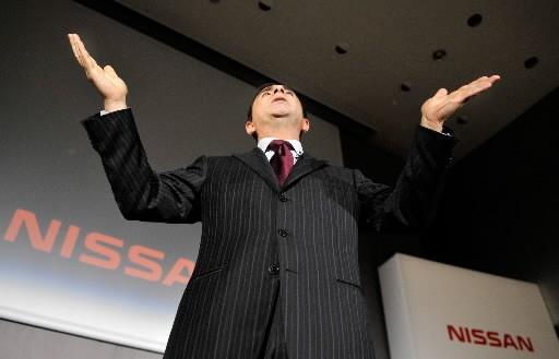 Le PDG de Nissan, Carlos Ghosn, répond aux... (Photo: Agence France-Presse)