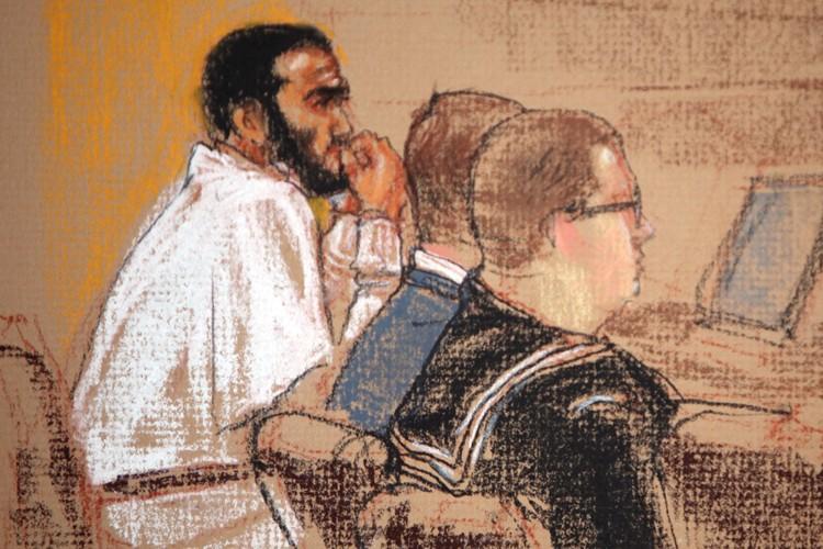Un croquis d'Omar Khadr réalisé le 20 janvier... (Photo: AP)