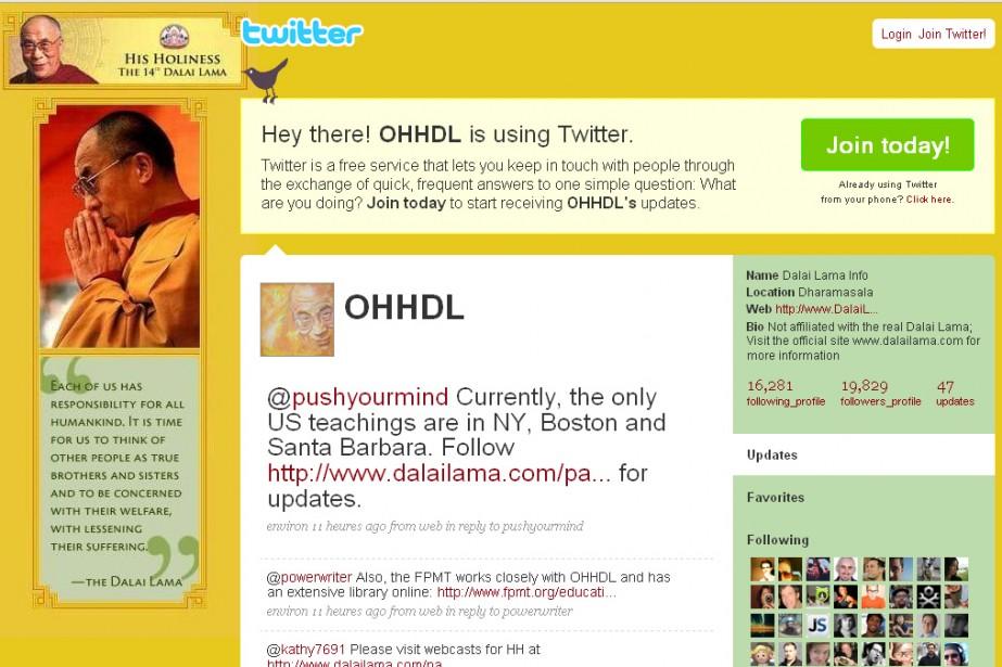 Le compte Twitter du faux Dalai Lama...