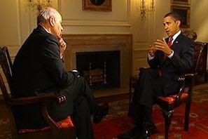 Peter Mansbridge et le président Barack Obama à... (Photo tirée de CBC.ca)