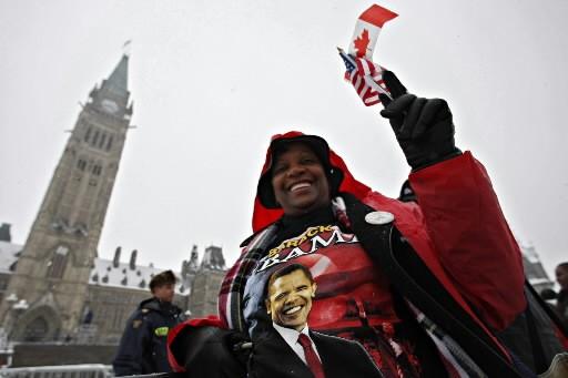 Cette femme espère bien voir le président américain.... (Photo: Ivanoh Demers,  La Presse)