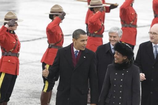 Michaëlle Jean et Barack Obama, quelques minutes après... (Photo: André Pichette, La Presse)