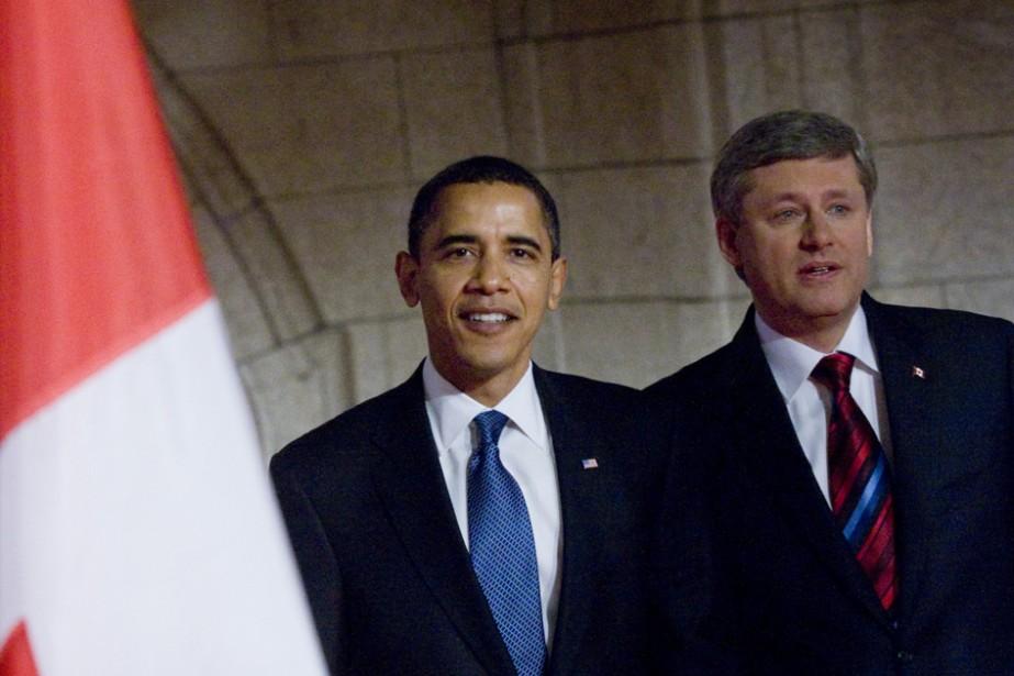 Barack Obama et Stephene Harper.... (Photo: Ivanoh Demers,  La Presse)