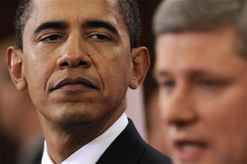 Barack Obama et Stephen Harper... (Reuters)