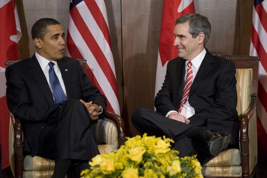 Barack Obama et Michael Ignatieff ont discuté hier... (Photo AFP)