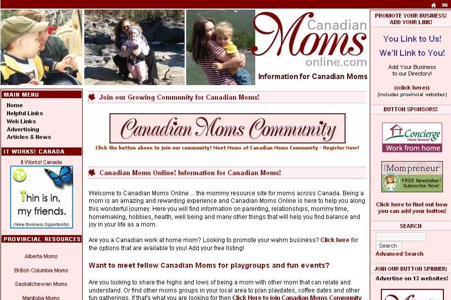 Le site CanadianMomsOnline.com...