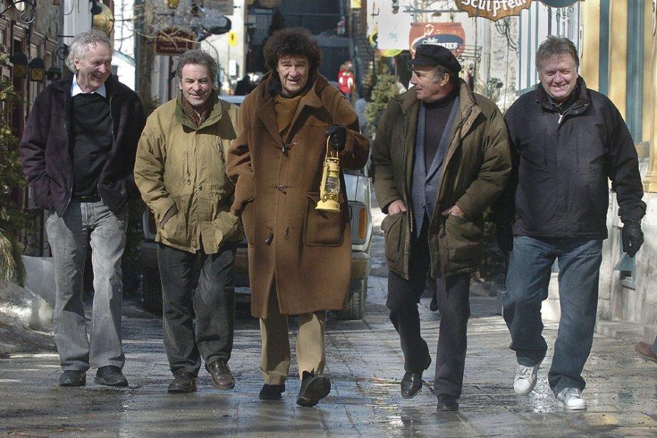 De gauche à droite : Pierre Létourneau, Claude Gauthier, Robert Charlebois, Pierre Calvé et Jean-Guy Moreau. (Photo: Claude Gauthier)