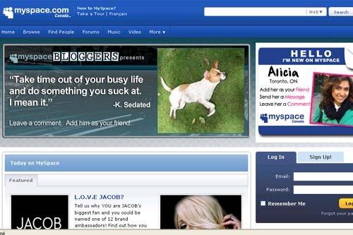 La page d'accueil du site MySpace....