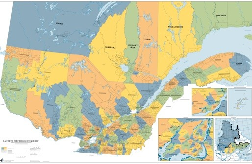 La carte électorale du Québec.... (Photothèque Le Soleil)