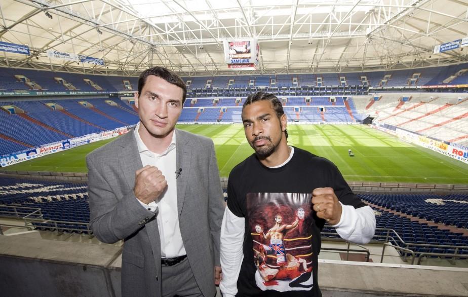 David Haye et Vladimir Klitschko... (Photo:  AP)