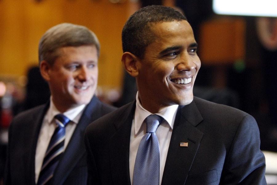 Stephen Harper et Barack Obama ont brièvement discuté... (Photo: Reuters)
