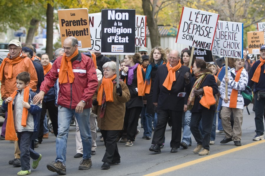 Manifestation contre le cours d'éthique et culture religieuse... (Photo: Robert Skinner, Archives La Presse)