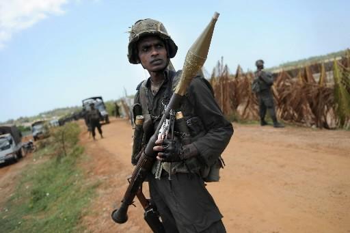 Un soldat srilankais protège la frontière.... (Photo: AFP)
