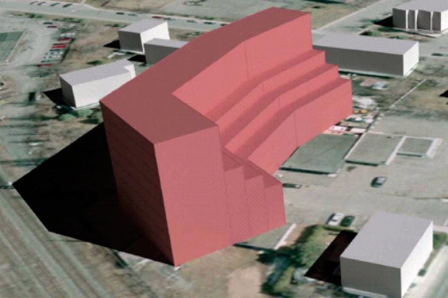 Cette simulation volumétrique d'un édifice de huit étages... (Photo fournie par la Ville de Saint-Lambert)