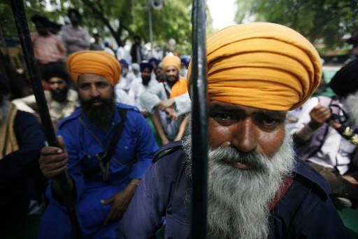 Manifestants sikhs à New Delhi, en Inde,... (Photo: archives AP)