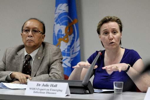 La Dr Julie Hall, de l'OMS, en conférence... (Photo AFP)