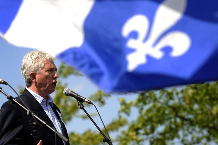 Gilles Duceppe s'est adressé à la foule réunie... (Photo: Bernard Brault, La Presse)