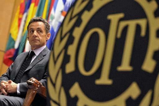 Nicolas Sarkozy devant les délégués de l'OIT.... (Photo AFP)