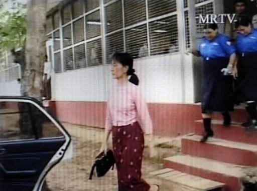 Une rare image d'Aung San Suu Kyi, captée... (AFP)