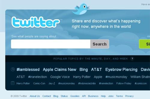 La page d'accueil de Twitter.... (Photo tirée du site Twitter)