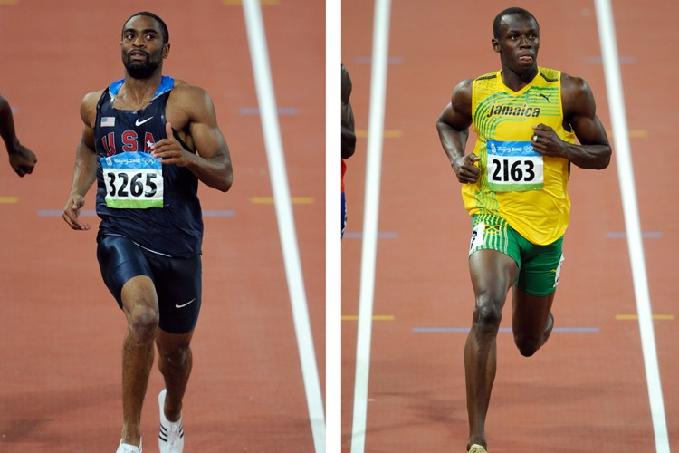 Tyson Gay et Usain Bolt... (Photo: Bernard Brault, La Presse)