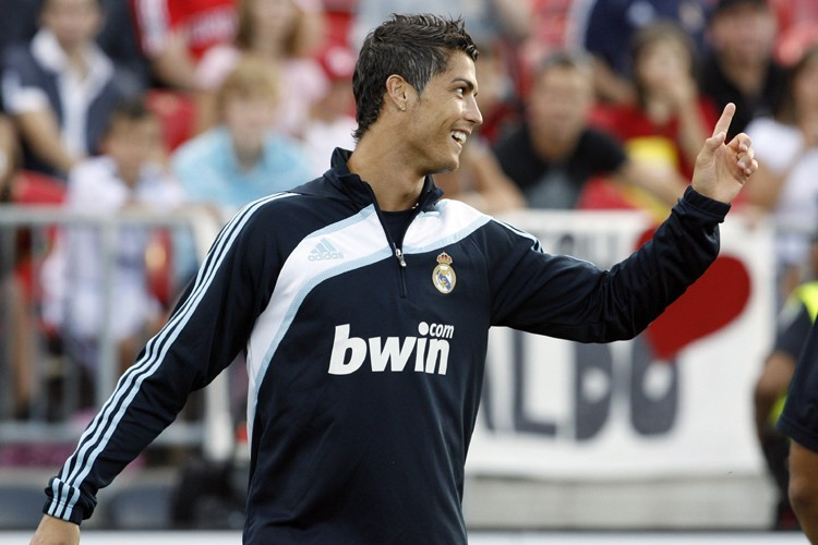 Cristiano Ronaldo lors de l'entraînement du Real Madrid... (Photo: AFP)