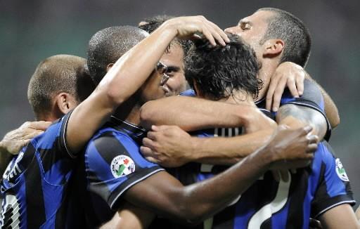 Les joueurs de l'Inter célèbrent leur victoire.... (Photo: AFP)