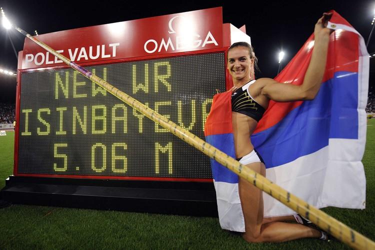 Yelena Isinbayeva a établi un nouveau record du... (Photo: AFP)