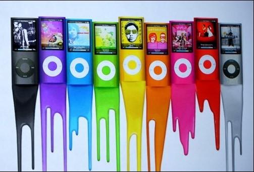 Une publicité pour le iPod nano... (photo AFP)