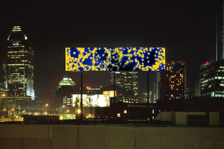 Ce photomontage représente The Blue Flyer II, oeuvre... (Photo: fournie par Michael Flomen)