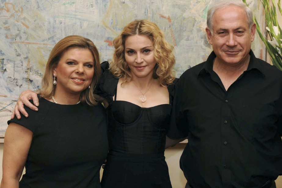 Sara Netanyahu, Madonna et Benjamin Netanyahu.... (Photo: Reuters)