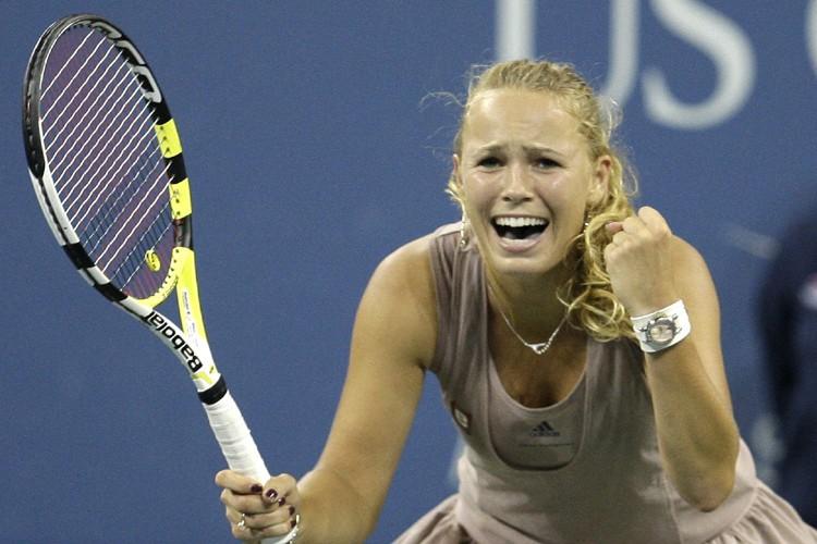 Caroline Wozniacki réagit après sa victoire.... (Photo: AP)