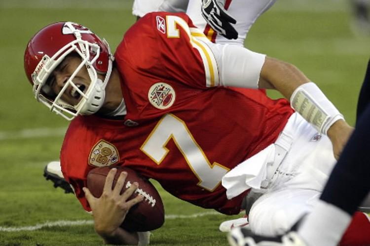 Matt Cassel s'est blessé au genou gauche.... (Photo: AP)