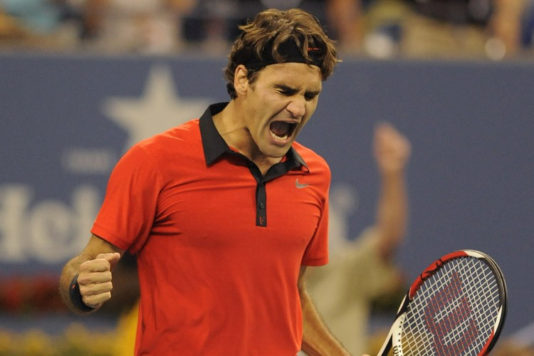Roger Federer réagit après sa victoire.... (Photo: AFP)