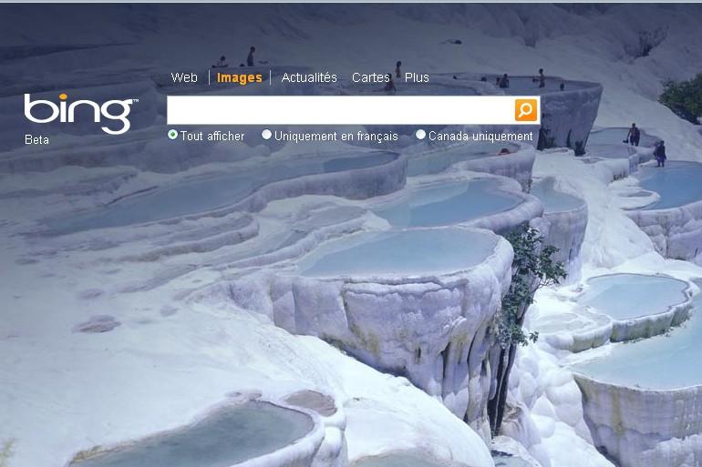 Capture d'écran du site Bing....