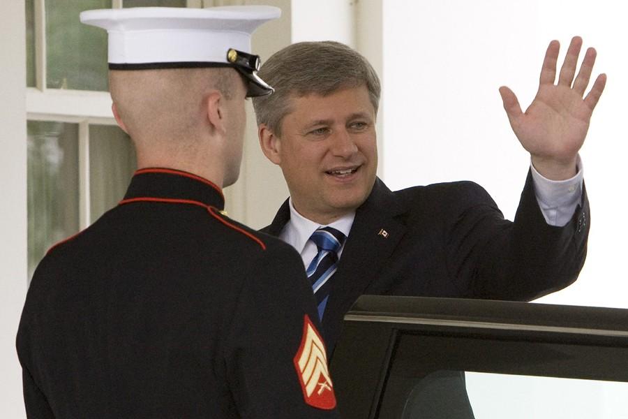 Stephen Harper à son arrivée à la Maison-Blanche.... (Photo: Reuters)