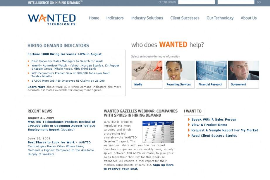Capture d'écran du site Wanted Technologies....