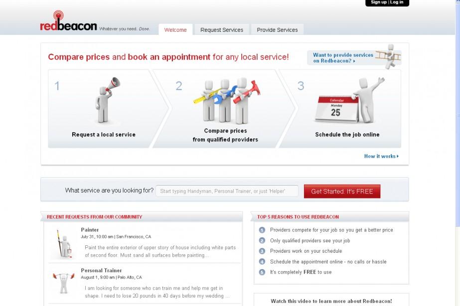 Capture d'écran du site Redbeacon....