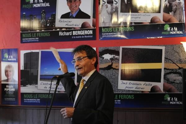 Richard Bergeron, du parti Projet Montréal, a présenté... (Photo: Bernard Brault, La Presse)