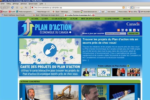 Le site Internet du gouvernement fédéral mis en service pour promouvoir le plan...