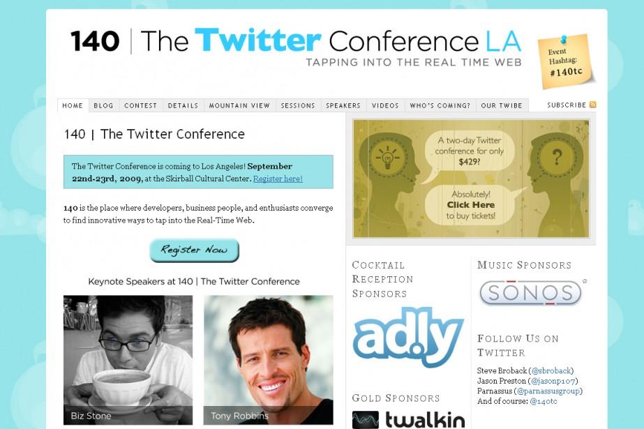 Capture d'écran du site sur la conférence Twitter....