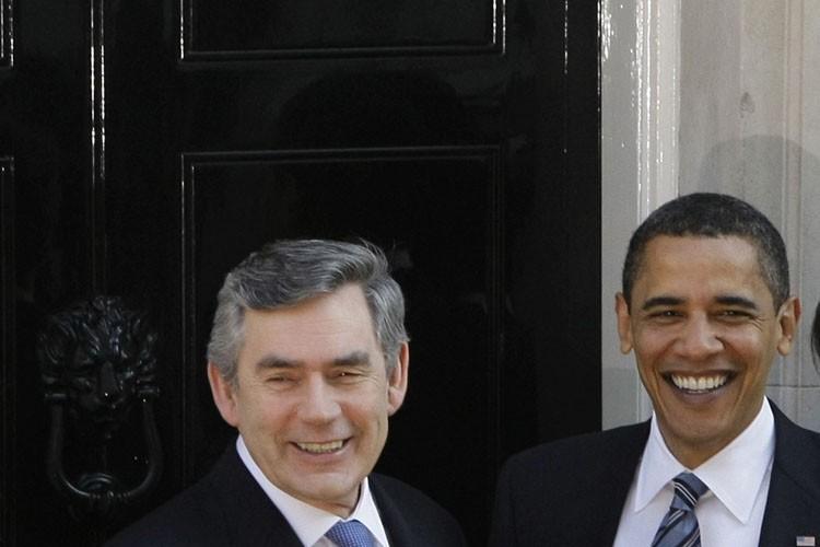 Gordon Brown et Barack Obama en avril dernier.... (Photo: AP)