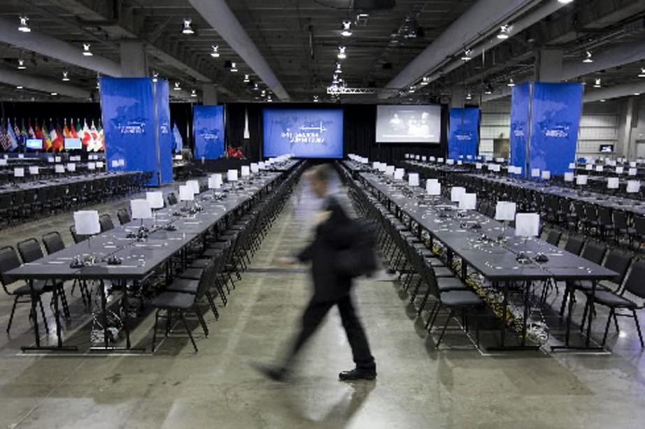 La salle des médias prête à accueillir les... (Photo PC)